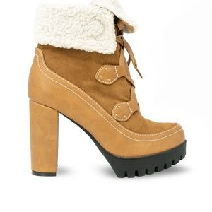 Women's Taupe Shearling Chunky Platform Booties